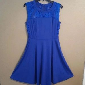 Dresses & Skirts - New Blue lace top dress size Medium